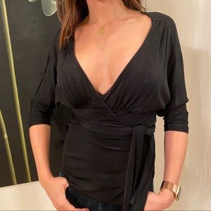 DVF Black, Silky, Drape Top Deep V - Sm